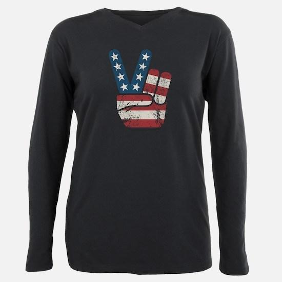 Peace USA Vintage Plus Size Long Sleeve Tee