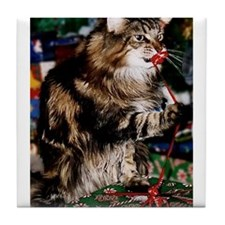 Merry Maine Coon Christmas Tile Coaster