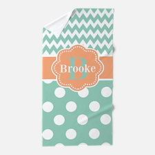 Mint Peach Dots Personalized Beach Towel
