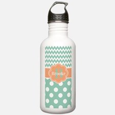 Mint Peach Dots Personalized Water Bottle