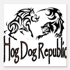 "Hog Dog Republic Square Car Magnet 3"" x 3"""
