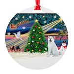 XmasMagic/Akita Round Ornament
