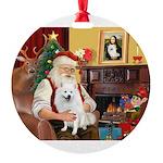 Santa's Eskimo Spitz Round Ornament