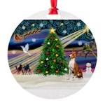 XmasMagic/Basenji Round Ornament