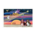 Xmas Star & 2 Bassets 35x21 Wall Decal