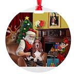 Santa's Basset Hound Round Ornament