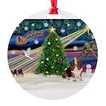 Xmas Magic - Basset Round Ornament