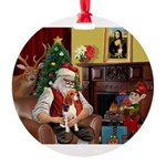 Santa's Beagle Round Ornament
