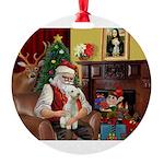 Santa's Bedlington Round Ornament