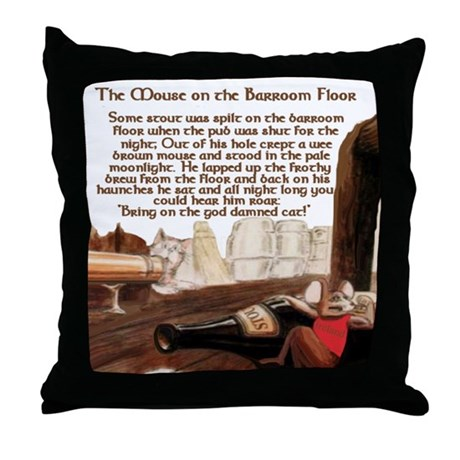 Mouse on the Barroom Floor Throw Pillow
