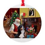 Santa's Bernee Round Ornament