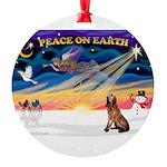 XmasSunrise/Bloodhound Round Ornament