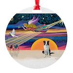 XmasStar/Border Collie (brown Round Ornament