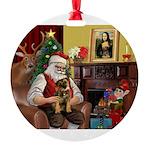 Santa's Border T Round Ornament