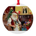 Santa's Boxer Round Ornament