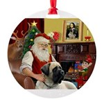 Santa's Bull Mastiff Round Ornament