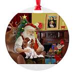 Santa's Cavalier Round Ornament