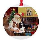 Santa's 2 Cavaliers Round Ornament