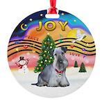 XMusic2-Cesky Terrier (slate) Round Ornament