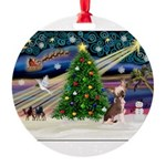 XmasMagic/Chinese Crested Round Ornament