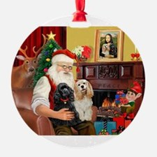 Santa's 2 Cockers Ornament