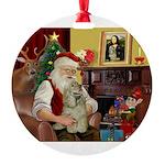 Santa's Cocker Round Ornament