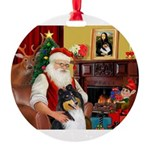 Santa's Collie (tri) Round Ornament