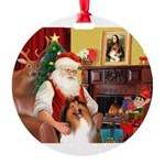 Santa's Collie Round Ornament