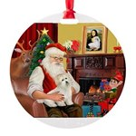 Santa's Coton Round Ornament