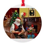 Santa/Dacshund (BT) Round Ornament