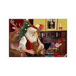 Santa/Brown Dacshund 35x21 Wall Decal