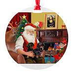 Santa/2 Black Dachshunds Round Ornament