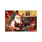 Santa/2 Black Dachshunds 35x21 Wall Decal