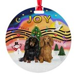 XMusic2-Two Long H. Dachshunds Round Ornament