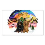 XMusic2-Two Long H. Dachshunds Sticker (Rectangle