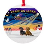 XmasSunrise/ 2 Dachshunds Round Ornament