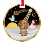 Night Flight/Dachshund #11 Round Ornament