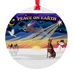 XmasSunrise/Dobie (red) Round Ornament