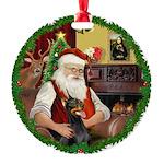 Santa's Dobie Round Ornament