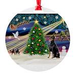 XmasMagic/Dobie Round Ornament