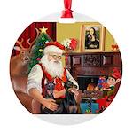 Santa's 2 Dobies Round Ornament