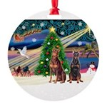 XmasMagic/ 2 Dobies Round Ornament