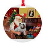 Santa's English Bulldog Round Ornament