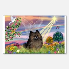 Cloud Angel /Pomeranian (brin Sticker (Rectangle)