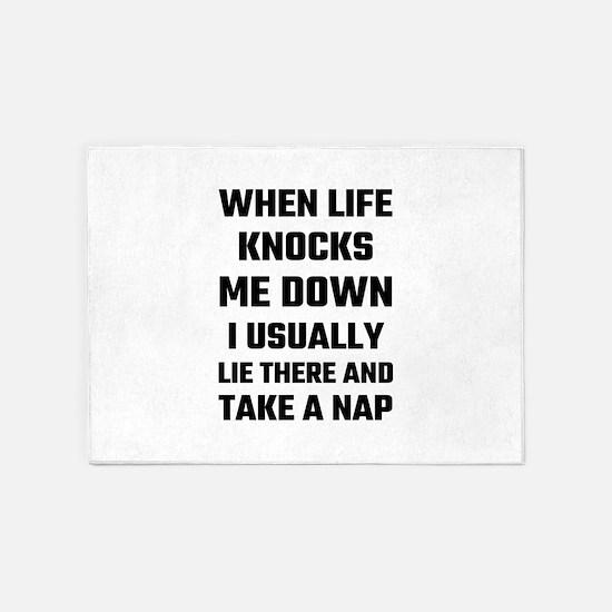 When Life Knocks Me Down I Usually 5'x7'Area Rug