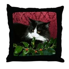 B&W Maine Coon Cat & Holly Throw Pillow