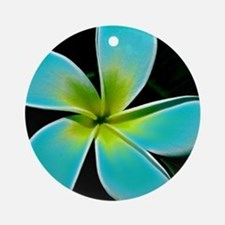 Turquoise Yellow White Flower Round Ornament