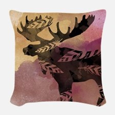 Moose Antlers Woven Throw Pillow