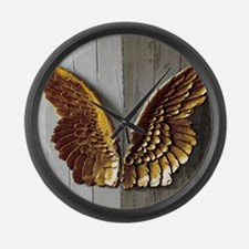 Gold Angel Wings W Large Wall Clock