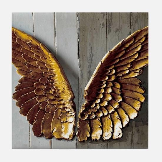Gold Angel Wings W Tile Coaster